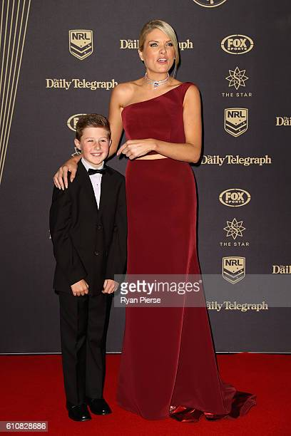 Tom Chell and television presenter Erin Molan arrive at the 2016 Dally M Awards at Star City on September 28 2016 in Sydney Australia
