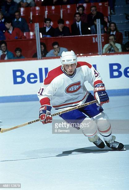 Tom Chorske of the Montreal Canadiens skates on the ice during an NHL game against the Minnesota North Stars on November 4 1990 at the Montreal Forum...