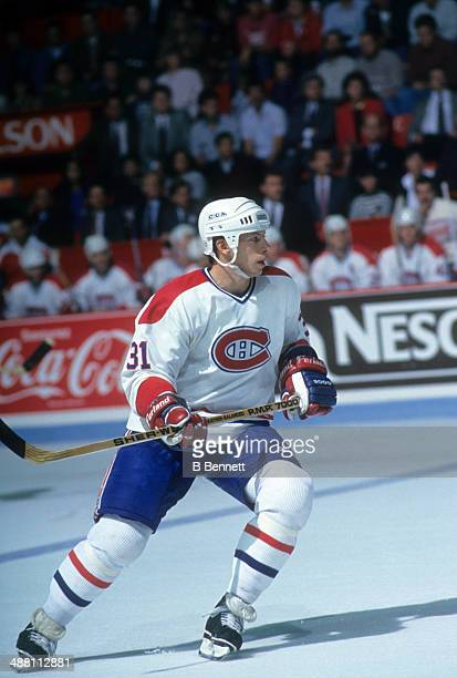 Tom Chorske of the Montreal Canadiens skates on the ice during an NHL pre season game in September 1990 at the Montreal Forum in Montreal Quebec...