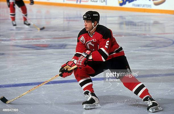 Tom Chorske of the New Jersey Devils skates on the ice during an NHL game against the New York Rangers on October 14 1992 at the Madison Square...