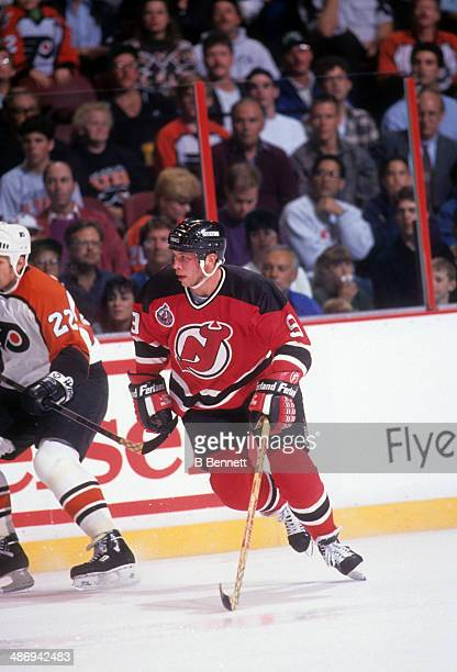Tom Chorske of the New Jersey Devils skates on the ice during an NHL game against the Philadelphia Flyers on October 9 1992 at the Spectrum in...