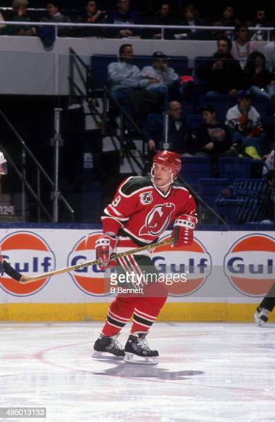 Tom Chorske of the New Jersey Devils skates on the ice during an NHL game against the New York Islanders on December 14, 1991 at the Nassau Coliseum...