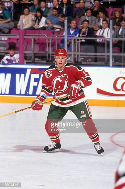 Tom Chorske of the New Jersey Devils skates on the ice during an NHL game against the New York Rangers on October 16, 1991 at the Madison Square...