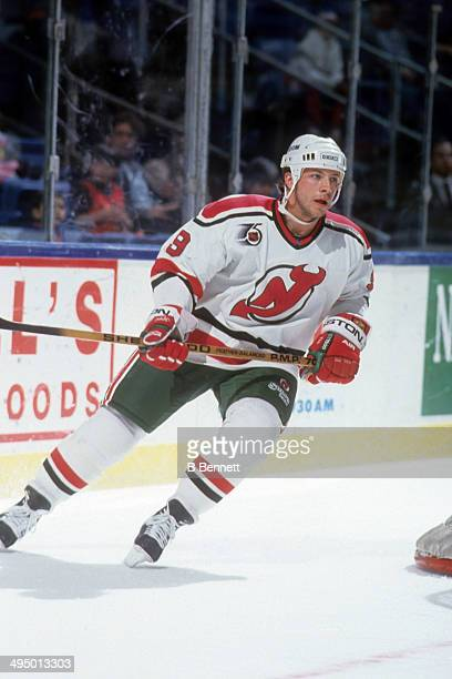 Tom Chorske of the New Jersey Devils skates on the ice during an NHL game against the New York Islanders on April 15, 1992 at the Nassau Coliseum in...