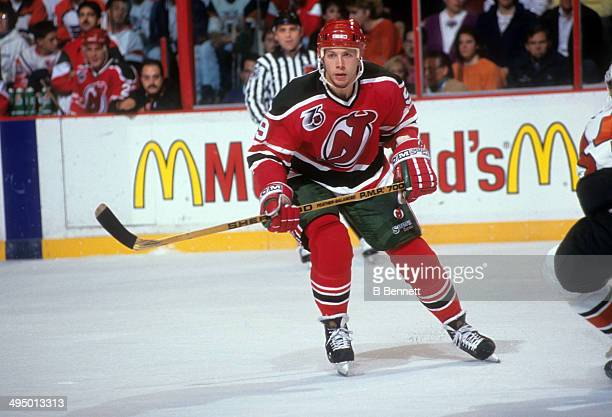 Tom Chorske of the New Jersey Devils skates on the ice during an NHL game against the Philadelphia Flyers on October 13 1991 at the Spectrum in...
