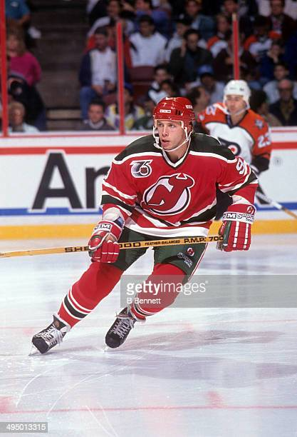 Tom Chorske of the New Jersey Devils skates on the ice during an NHL game against the Philadelphia Flyers circa 1992 at the Spectrum in Philadelphia...
