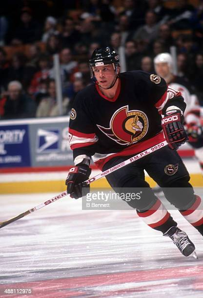 Tom Chorske of the Ottawa Senators skates on the ice during an NHL game against the New Jersey Devils on January 29, 1997 at the Continental Airlines...