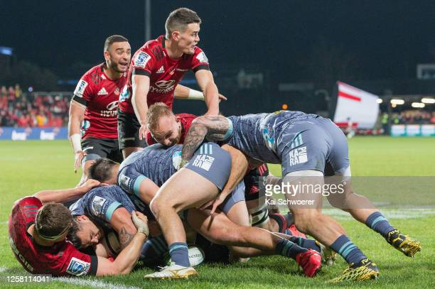 Tom Christie of the Crusaders is seen in a ruck during the round 7 Super Rugby Aotearoa match between the Crusaders and the Hurricanes at...