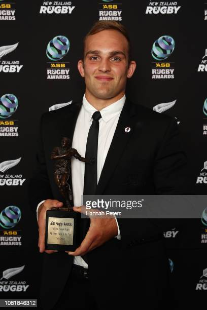 Tom Christie poses with the New Zealand Rugby Age Grade Player of the Year award during the 2018 ASB Rugby Awards at SkyCity Convention Centre on...