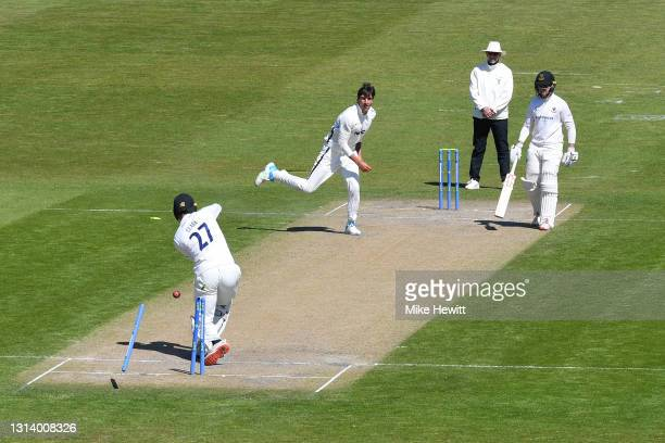 Tom Clark of Sussex is bowled by Duanne Olivier of Yorkshire during day 2 of the LV= Insurance County Championship match between Sussex and Yorkshire...