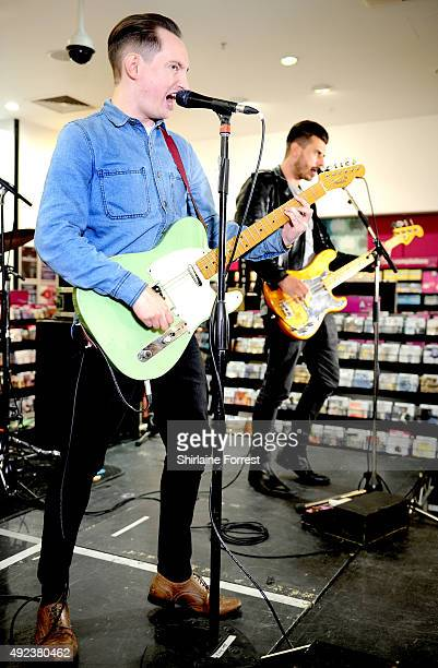 Tom Clarke and Andy Hopkins of The Enemy perform and sign copies of their new album 'It's Automatic' at HMV on October 12, 2015 in Manchester,...