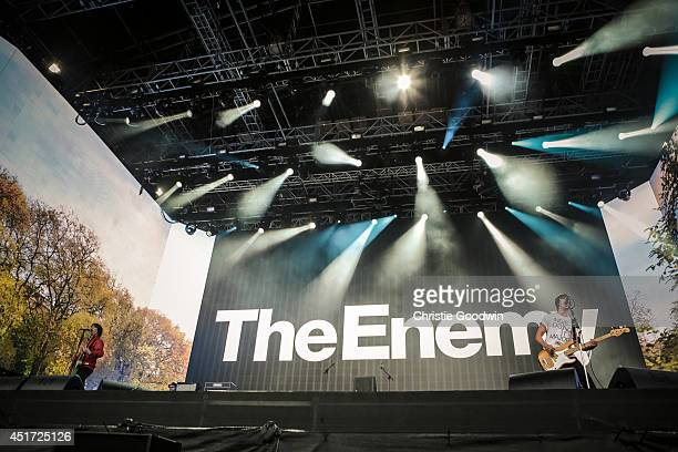 Tom Clarke and Andy Hopkins of The Enemy perform on stage on Day 3 of British Summer Time Festival at Hyde Park on July 5 2014 in London United...