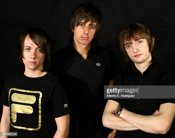 Tom Clarke Laim Watts and Andy Hopkins of the British indie rock band The Enemy pose for a portrait on August 6 2008 in Los Angeles California