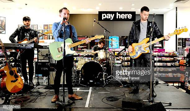 Tom Clarke, Liam Watts and Andy Hopkins of The Enemy perform and sign copies of their new album 'It's Automatic' at HMV on October 12, 2015 in...