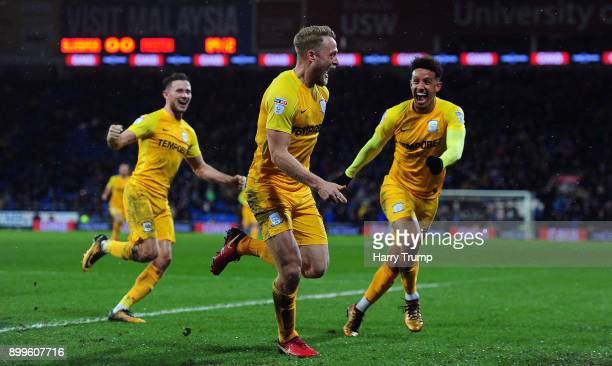 Tom Clarke of Preston North End celebrates his sides first goal during the Sky Bet Championship match between Cardiff City and Preston North End at...