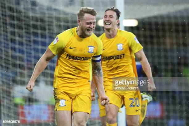 Tom Clarke of Preston North End celebrates scoring his sides first goal of the match in the last minute of the Sky Bet Championship match between...