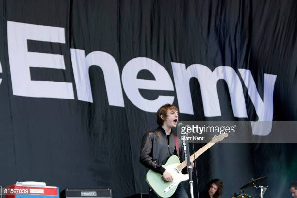 Tom Clarke of The Enemy performs at day two of the Isle of Wight Festival 2008 at Seaclose Park on June 14 2008 in Newport England