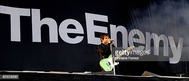 Tom Clarke of The Enemy performs at day two of the Leeds Festival at Bramhall Park on August 23 2008 in Leeds England