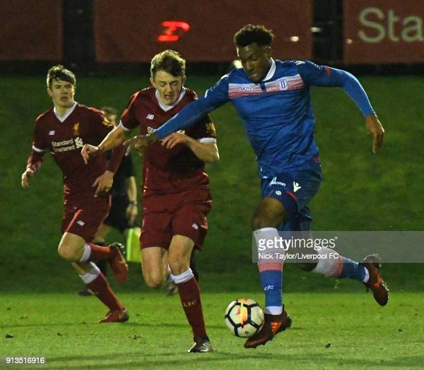Tom Clayton of Liverpool and Jordan Greenidge of Stoke City in action during the Liverpool v Stoke City U18 Premier League game at The Kirkby Academy...