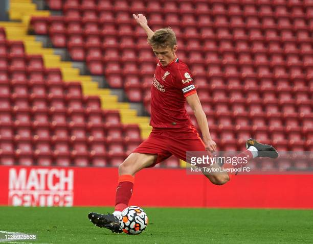 Tom Clayton of Liverpool in action during the PL2 game at Anfield on October 16, 2021 in Liverpool, England.