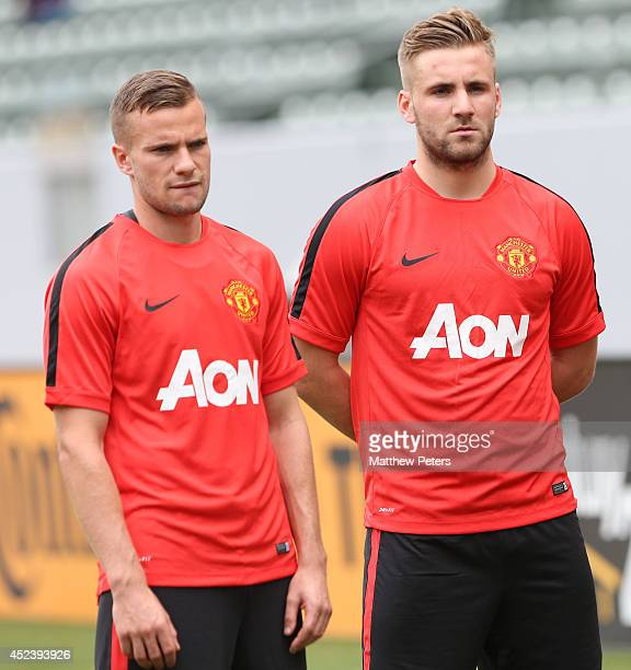 Tom Cleverley and Luke Shaw of Manchester United in action during a training session as part of their preseason tour of the United States on July 19...