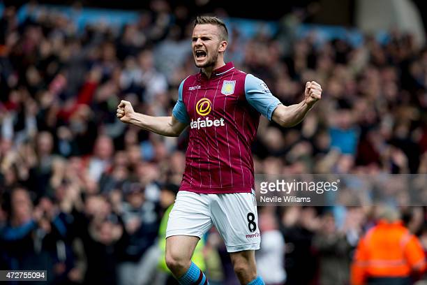Tom Cleverley of Aston Villa celebrates his goal for Aston Villa during the Barclays Premier League match between Aston Villa and West Ham United at...
