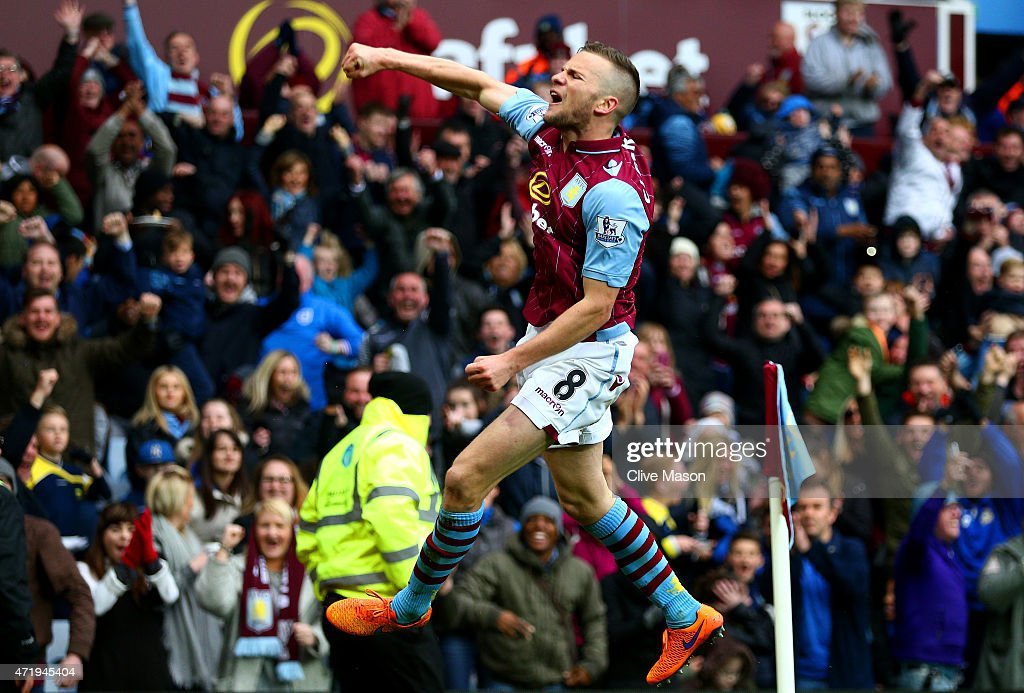 Tom Cleverley of Aston Villa celebrates his team's third goal during the Barclays Premier League match between Aston Villa and Everton at Villa Park on May 2, 2015 in Birmingham, England.