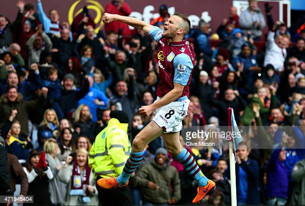 Tom Cleverley of Aston Villa celebrates his team's third goal during the Barclays Premier League match between Aston Villa and Everton at Villa Park...