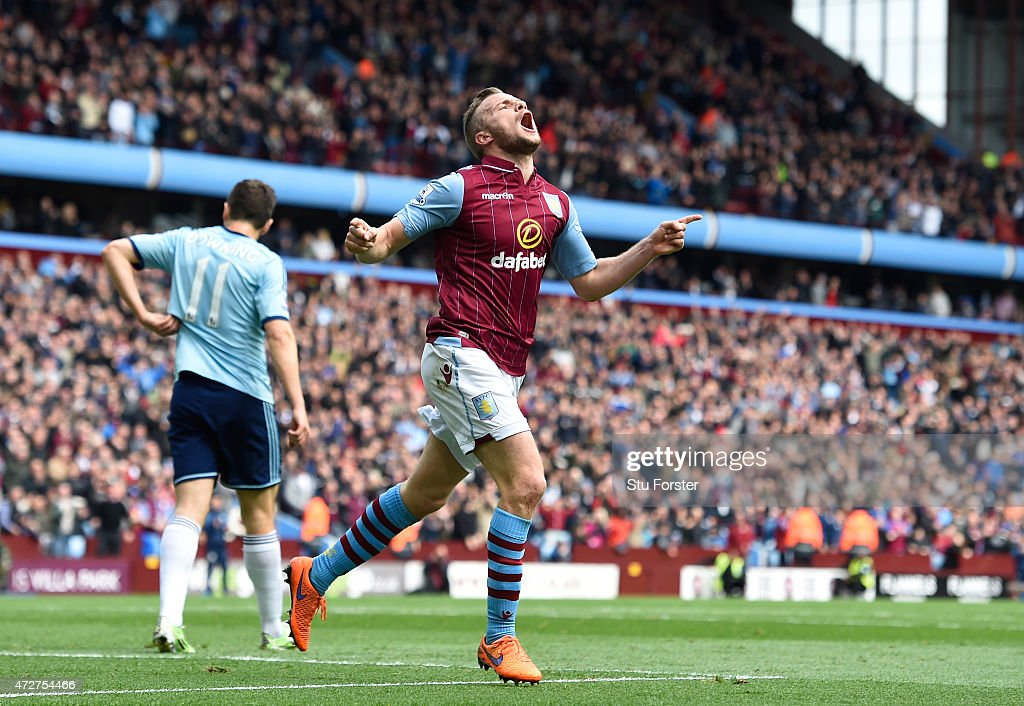 Tom Cleverley of Aston Villa celebrates scoring the opening goal during the Barclays Premier League match between Aston Villa and West Ham United at Villa Park on May 9, 2015 in Birmingham, England.