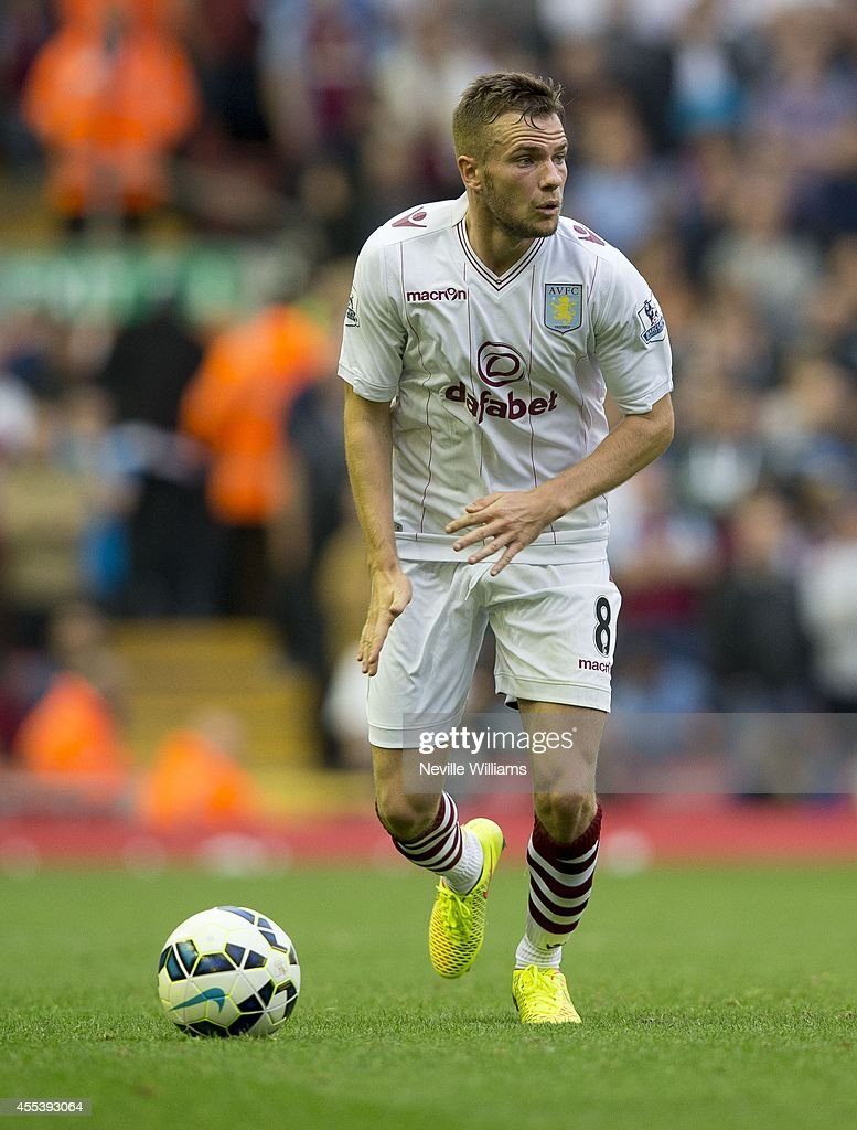 Tom Cleverley of Aston Villa during the Barclays Premier League match between Liverpool and Aston Villa at Anfield on September 13, 2014 in Liverpool, England.