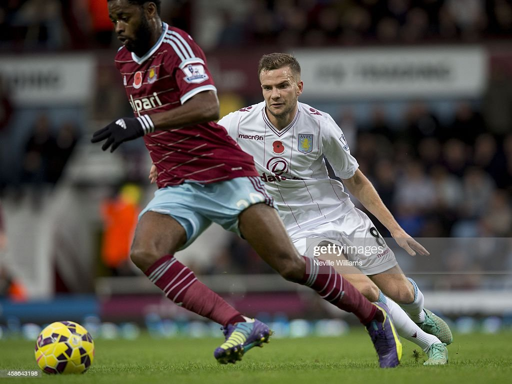 Tom Cleverley of Aston Villa during the Barclays Premier League match between West Ham United and Aston Villa at the Boleyn Ground on November 08, 2014 in London, England.