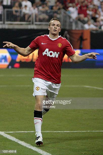 Tom Cleverley of Manchester United celebrates a goal in the second half of the MLS All Star Game at Reliant Stadium on July 28 2010 in Houston Texas