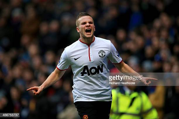Tom Cleverley of Manchester United celebrates as he scores their third goal during the Barclays Premier League match between Aston Villa and...