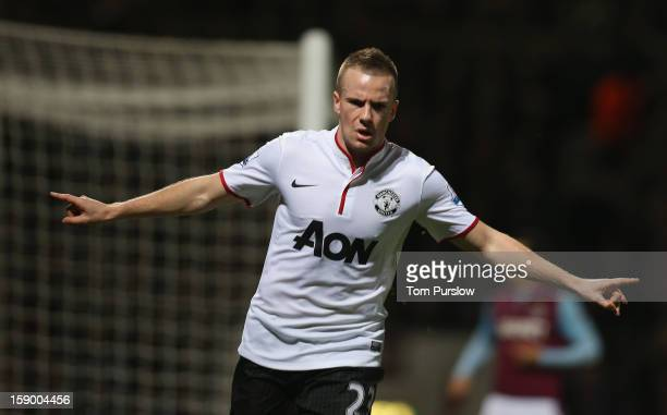 Tom Cleverley of Manchester United celebrates scoring their first goal during the FA Cup Third Round match between West Ham United and Manchester...