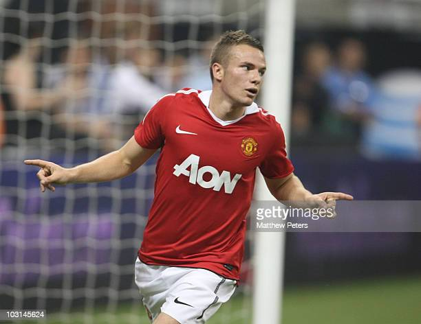 Tom Cleverley of Manchester United celebrates scoring their fourth goal during the MLS AllStar match between Manchester United and MLS Allstars at...