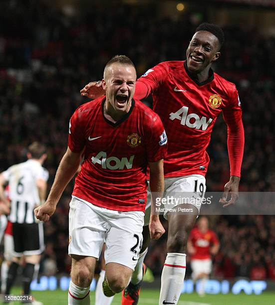 Tom Cleverley of Manchester United celebrates scoring their second goal during the Capital One Cup Third Round match between Manchester United and...