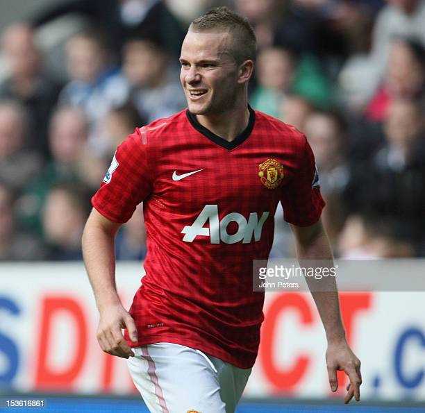Tom Cleverley of Manchester United celebrates scoring their third goal during the Barclays Premier League match between Newcastle United and...