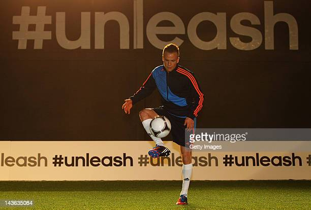 Tom Cleverley of Manchester United in action at the launch of the new adidas Predator Lethal Zones football boot. The boot, designed with five deadly...
