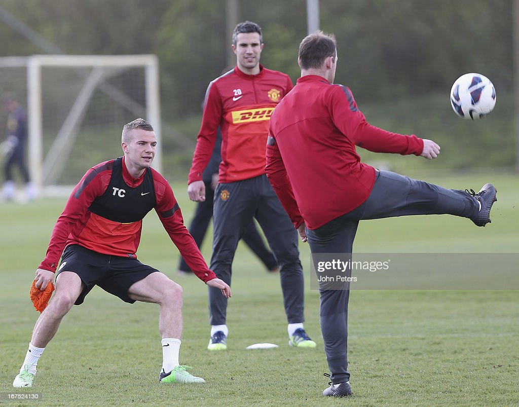 Tom Cleverley of Manchester United in actoin during a first team training session at Carrington Training Ground on April 26, 2013 in Manchester, England.