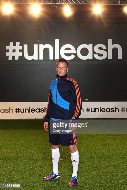 Tom Cleverley of Manchester United poses for a portrait at the launch of the new adidas Predator Lethal Zones football boot The boot designed with...