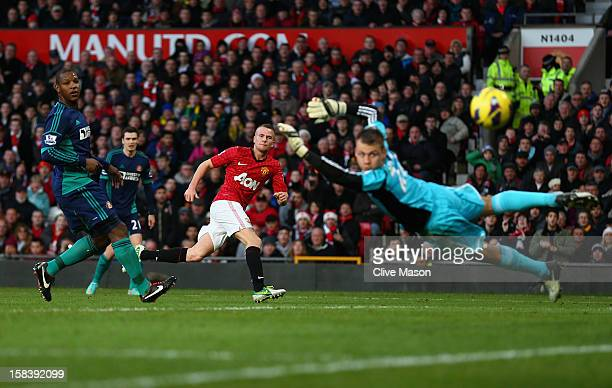 Tom Cleverley of Manchester United scores during the Barclays Premier League match between Manchester United and Sunderland at Old Trafford on...