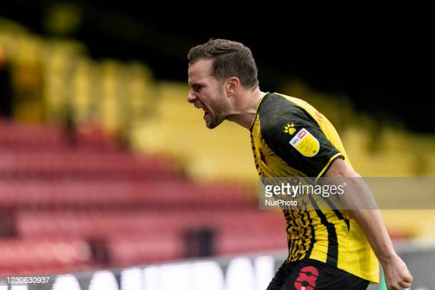Tom Cleverley of Watford celebrates after scoring a goal during the Sky Bet Championship match between Watford and Huddersfield Town at Vicarage...