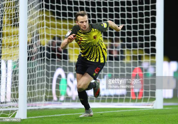 Tom Cleverley of Watford celebrates after scoring his team's first goal during the Sky Bet Championship match between Watford and Huddersfield Town...