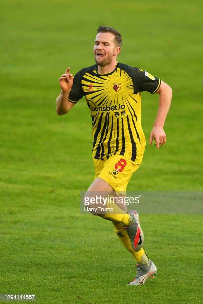 Tom Cleverley of Watford celebrates after scoring their team's first goal during the Sky Bet Championship match between Swansea City and Watford at...