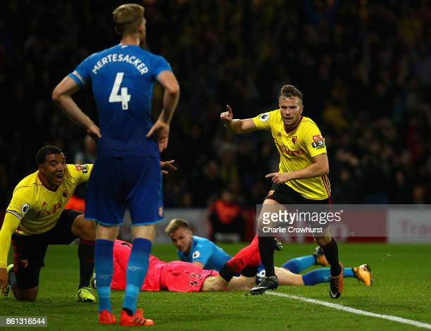 Tom Cleverley of Watford celebrates as he scores their second goal during the Premier League match between Watford and Arsenal at Vicarage Road on...