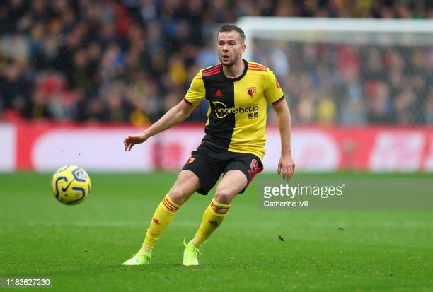 Tom Cleverley of Watford during the Premier League match between Watford FC and AFC Bournemouth at Vicarage Road on October 26 2019 in Watford United...