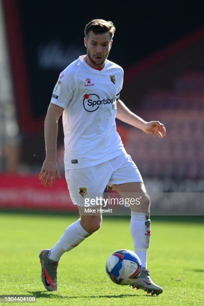 Tom Cleverley of Watford in action during the Sky Bet Championship match between AFC Bournemouth and Watford at Vitality Stadium on February 27, 2021...