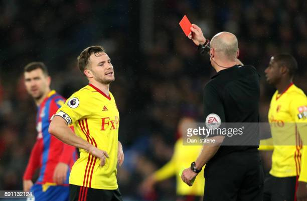 Tom Cleverley of Watford is sent off during the Premier League match between Crystal Palace and Watford at Selhurst Park on December 12 2017 in...