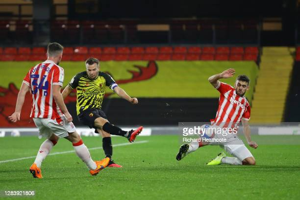 Tom Cleverley of Watford scores his sides first goal during the Sky Bet Championship match between Watford and Stoke City at Vicarage Road on...