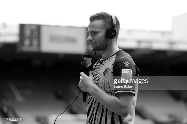 Tom Cleverley of Watford speaks to the media during the Sky Bet Championship match between Watford and Luton Town at Vicarage Road on September 26...